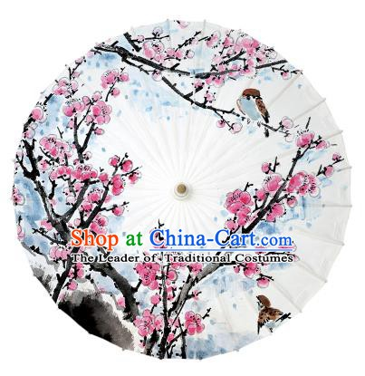 Chinese Traditional Paper Umbrella Folk Dance Handmade Ink Painting Plum Blossom Oil-paper Umbrella Yangko Umbrella