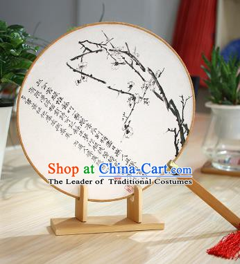 Chinese Traditional Round Fans Handmade Ink Painting Plum Blossom Circular Fan China Ancient Palace Fans