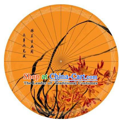 Chinese Traditional Paper Umbrella Folk Dance Painting Orchid Oil-paper Umbrella Handmade Umbrella