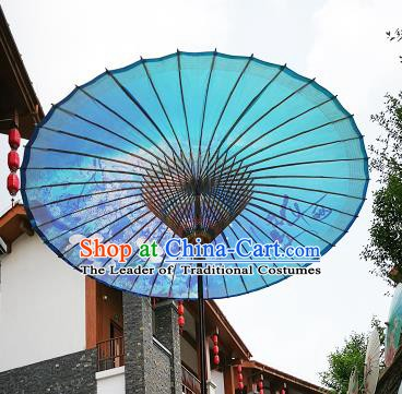 Chinese Traditional Artware Paper Umbrella Folk Dance Painting Peach Blossom Blue Oil-paper Umbrella Handmade Umbrella