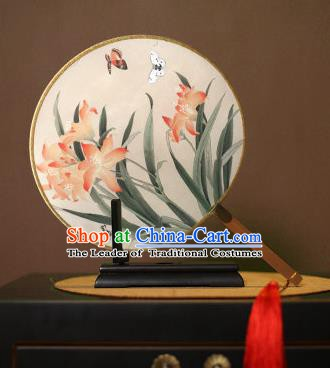 Chinese Traditional Circular Fans Handmade Printing Orchid Round Fan China Ancient Palace Dance Fans