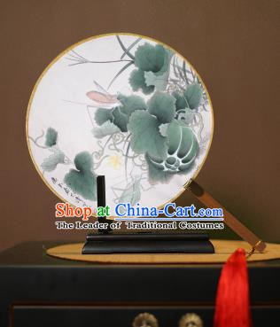 Chinese Traditional Circular Fans Handmade Printing Lotus Leaf Round Fan China Ancient Palace Dance Fans