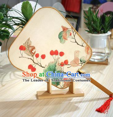 Chinese Traditional Printing Berry Fans Handmade Square Fan China Ancient Palace Dance Fans