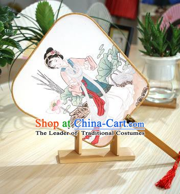 Chinese Traditional Printing Servant Girl Fans Handmade Square Fan China Ancient Palace Dance Fans