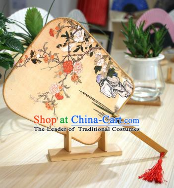Chinese Traditional Printing Flowers Birds Fans Handmade Square Fan China Ancient Palace Dance Fans