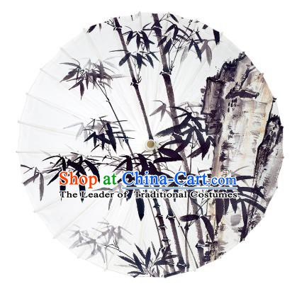 Chinese Traditional Artware Ink Painting Bamboo Stone Paper Umbrella Oil-paper Umbrella Handmade Umbrella