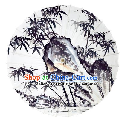 Chinese Traditional Artware Ink Wash Painting Bamboo Leaf Paper Umbrella Oil-paper Umbrella Handmade Umbrella