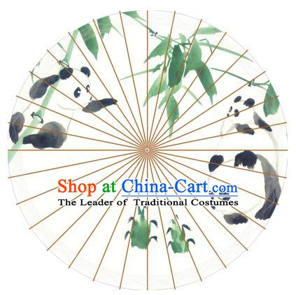 Chinese Traditional Artware Paper Umbrellas Painting Pandas Bamboo Oil-paper Umbrella Handmade Umbrella