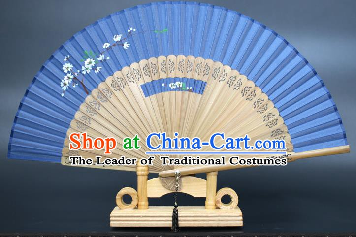 Chinese Traditional Artware Handmade Folding Fans Printing Plum Blossom Blue Silk Fans Accordion
