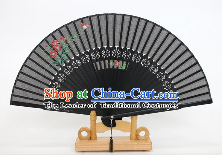 Chinese Traditional Artware Handmade Folding Fans Printing Flowers Black Silk Fans Accordion