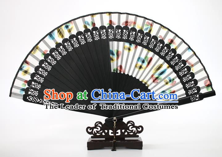 Chinese Traditional Artware Handmade Folding Fans White Silk Fans Accordion