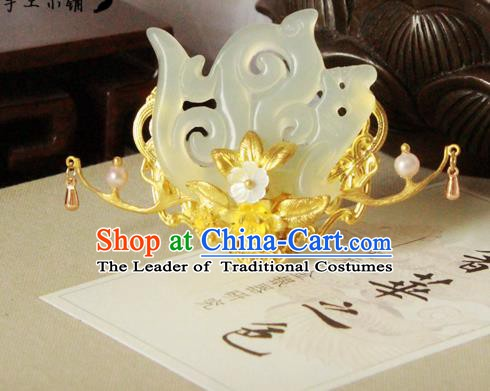 Chinese Handmade Classical Hair Accessories Wedding Hairpins Hanfu Jade Phoenix Coronet Hair Clip for Women