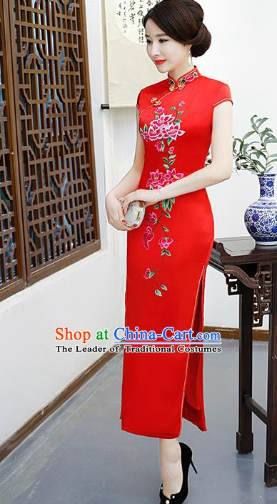 Chinese Traditional Red Mandarin Qipao Dress National Costume Embroidered Silk Cheongsam for Women