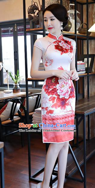 Chinese Traditional Printing Peony Red Silk Mandarin Qipao Dress National Costume Tang Suit Short Cheongsam for Women