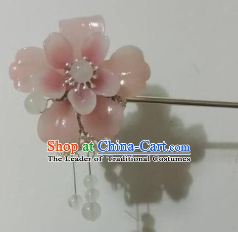 Traditional Chinese Ancient Palace Lady Hair Accessories Pink Flower Hairpins Tassel Step Shake for Women