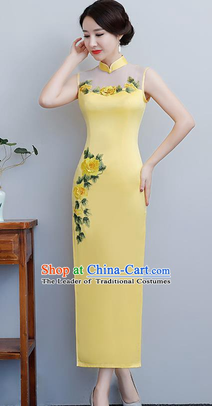 Chinese Traditional Tang Suit Embroidered Peony Qipao Dress National Costume Yellow Silk Mandarin Cheongsam for Women