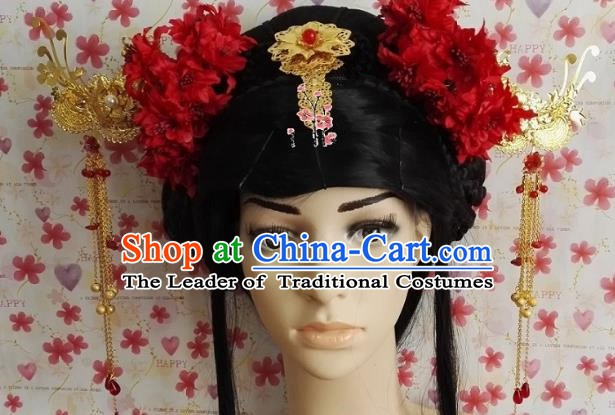 Traditional Chinese Ancient Princess Hair Accessories Red Flowers Hairpins Complete Set for Women