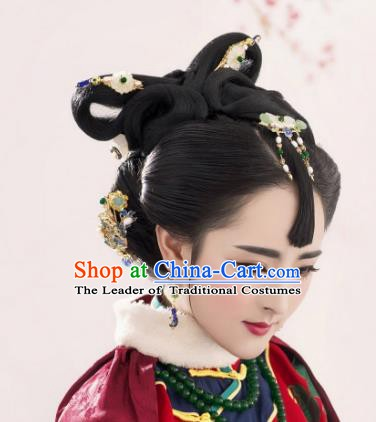 Traditional Chinese Ancient Princess Hair Accessories Blueing Hairpins Hair Stick Complete Set for Women