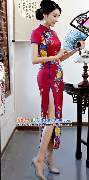 Chinese Traditional Tang Suit Wine Red Silk Qipao Dress National Costume Printing Peony Mandarin Cheongsam for Women