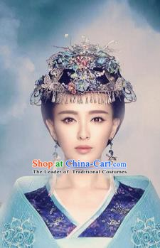 Traditional Chinese Ancient Princess Hair Accessories Blueing Hairpins Hair Clips Complete Set for Women