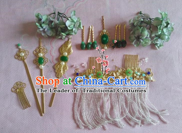 Traditional Chinese Ancient Wedding Hair Accessories Green Flowers Hair Stick Hairpins Complete Set for Women