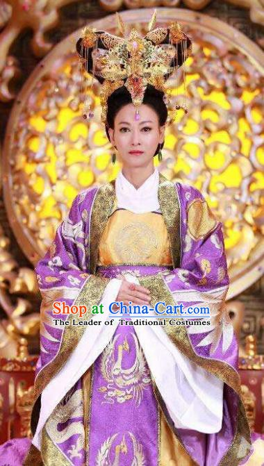 Chinese Ancient Tang Dynasty Empress Wu Zetian Embroidered Hanfu Dress Replica Costume for Women