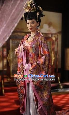 Ancient Chinese Tang Dynasty Palace Lady Princess Taiping Embroidered Dress Replica Costume for Women