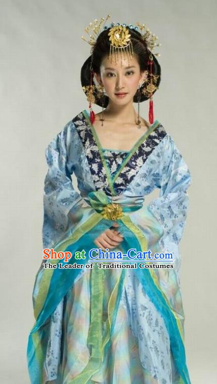 Ancient Chinese Tang Dynasty Palace Lady Embroidered Dress Replica Costume for Women