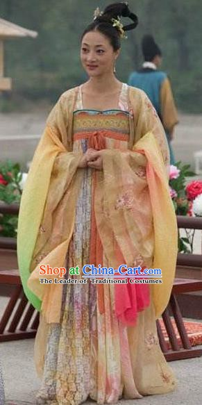 Traditional Chinese Ancient Palace Lady Tang Dynasty Princess Embroidered Dress Replica Costume for Women