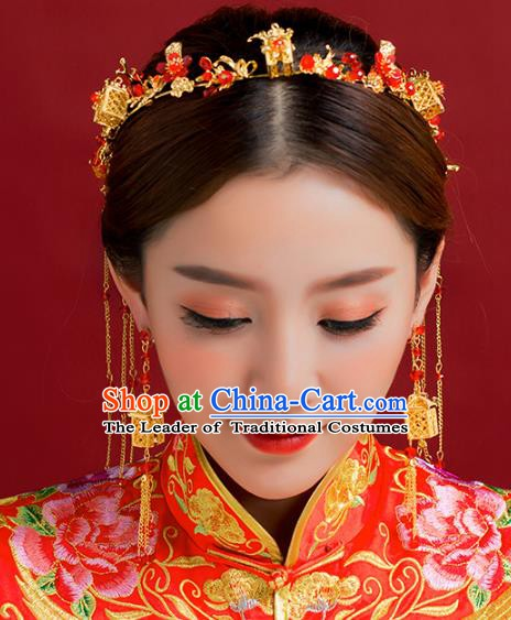Traditional Chinese Ancient Bride Hair Accessories Xiuhe Suit Hairpins Tassel Hair Clasp Complete Set for Women