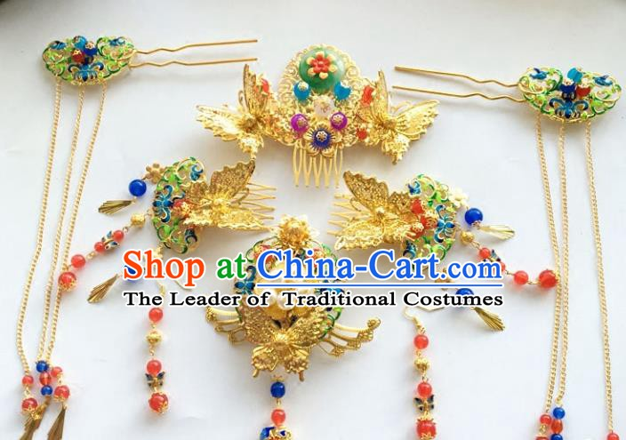 Traditional Chinese Ancient Wedding Phoenix Coronet Hair Accessories Jade Hairpins Complete Set for Women