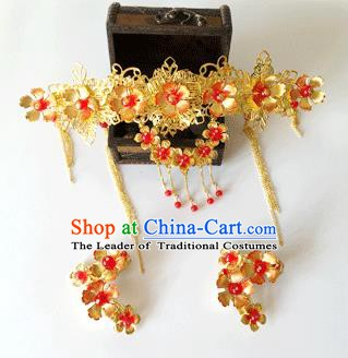 Traditional Chinese Ancient Bride Hair Accessories Xiuhe Suit Hairpins Phoenix Coronet and Earrings for Women