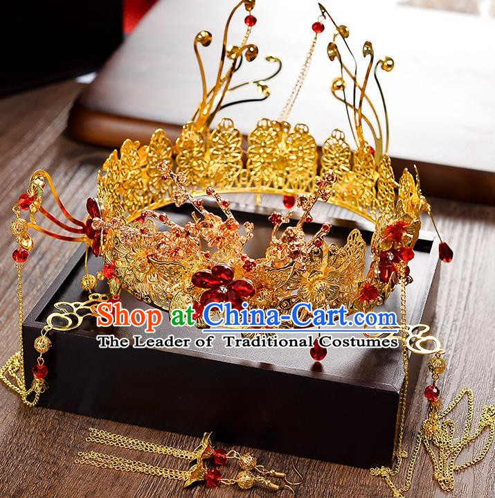 Traditional Chinese Ancient Bride Hair Accessories Xiuhe Suit Phoenix Coronet Hairpins for Women