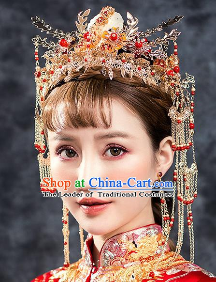 Traditional Chinese Ancient Bride Hair Accessories Xiuhe Suit Hairpins Phoenix Coronet Complete Set for Women
