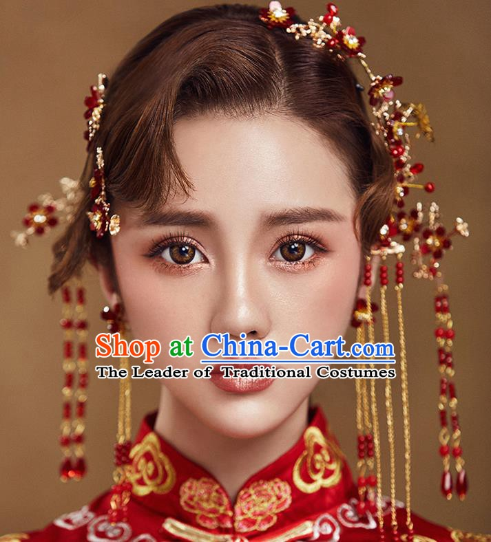 Traditional Chinese Ancient Bride Hair Accessories Xiuhe Suit Hair Stick Hairpins Complete Set for Women