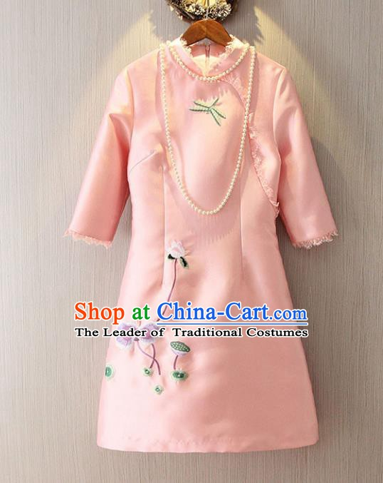 Chinese Traditional National Costume Pink Cheongsam Tangsuit Embroidered Short Dress for Women