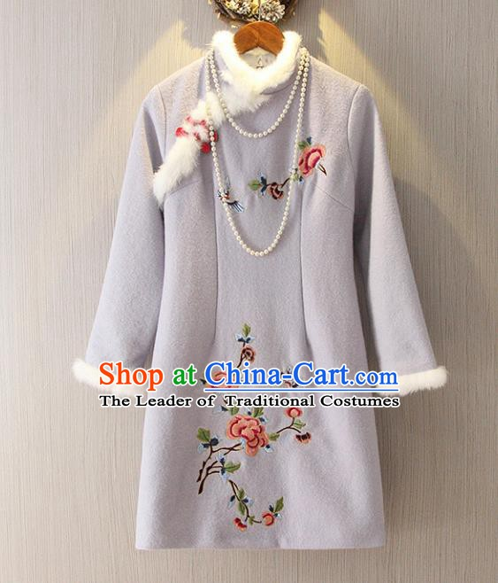 Chinese Traditional National Costume Embroidered Grey Cheongsam Tangsuit Qipao Dress for Women