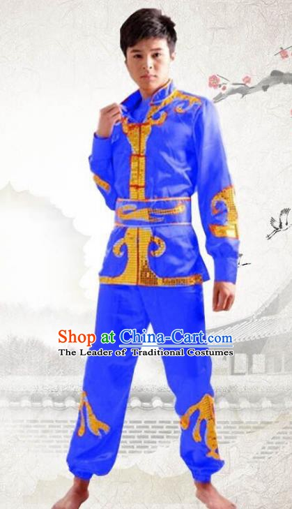 Traditional Chinese Yangge Dance Fan Dance Costume, Folk Drum Dance Dragon Boat Blue Uniform Yangko Clothing for Men
