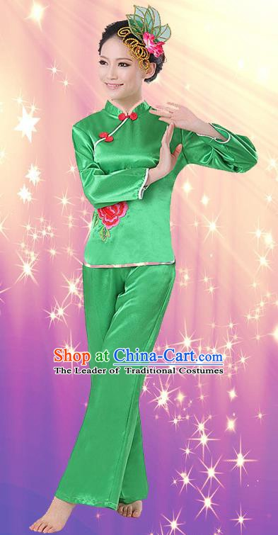 Chinese Traditional Fan Dance Costume, China Folk Dance Green Uniform Yangko Clothing for Women