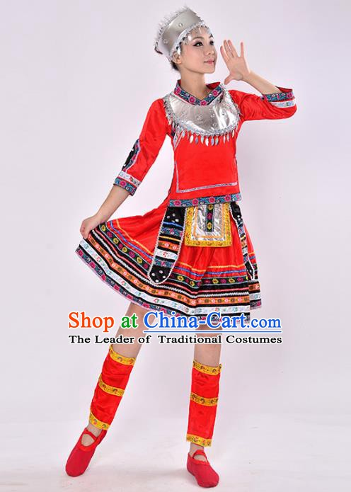 Traditional Chinese Miao Nationality Dance Costume, Hmong Folk Dance Red Dress for Women