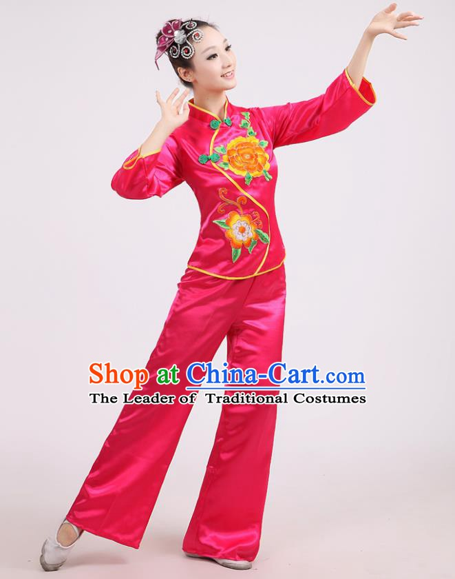 Chinese Traditional Classical Fan Dance Costume Folk Dance Pink Uniform Yangko Clothing for Women