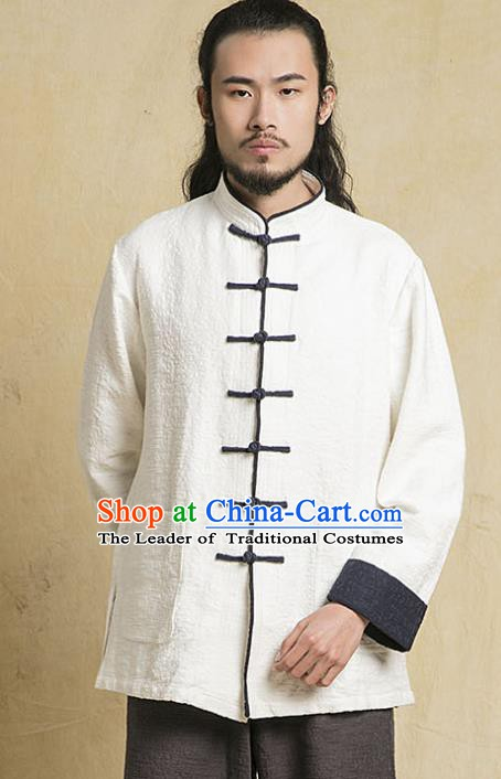 Top Grade Kung Fu White Costume Martial Arts Training Plated Buttons Gongfu Wushu Tang Suit Clothing for Men