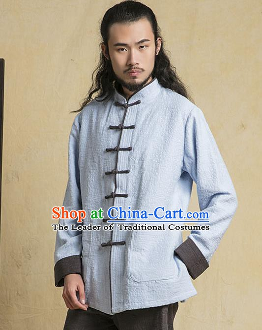 Top Grade Kung Fu Blue Costume Martial Arts Training Plated Buttons Gongfu Wushu Tang Suit Clothing for Men