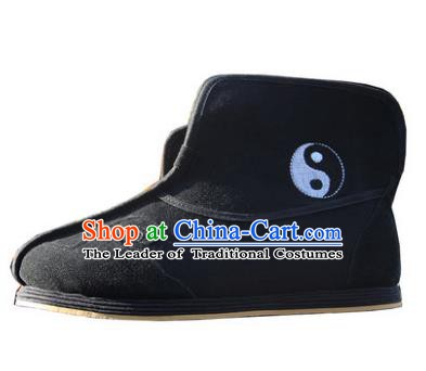 Chinese Traditional Handmade Cloth Shoes Black Boots Martial Arts Shoes Kung Fu Shoes for Men