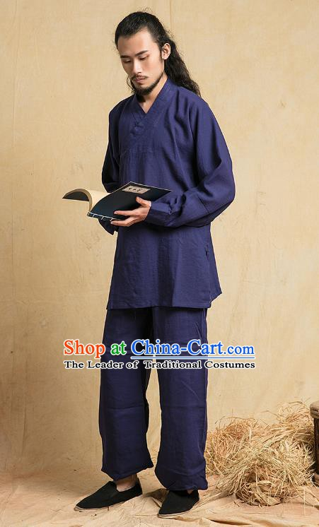 Top Grade Kung Fu Costume Martial Arts Training Navy Linen Suits Gongfu Wushu Tang Suit Clothing for Men