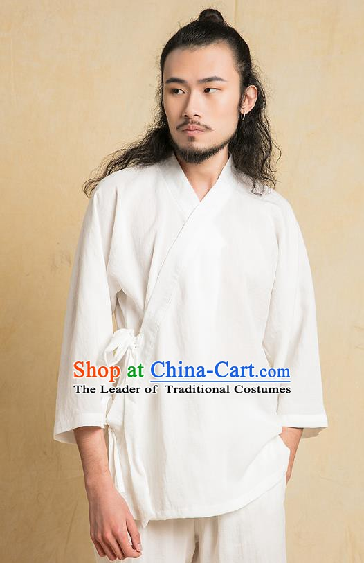 Chinese Kung Fu White Costume Martial Arts Training Clothing Gongfu Wushu Tang SuitsTai Chi Suits for Men