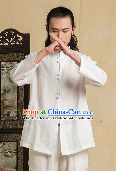 Chinese Kung Fu Costume Martial Arts Training White Suits Gongfu Wushu Tang SuitsTai Chi Clothing for Men