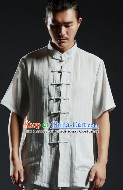 Chinese Kung Fu Costume Martial Arts Plated Buttons Grey Shirts Gongfu Wushu Tang SuitsTai Chi Clothing for Men