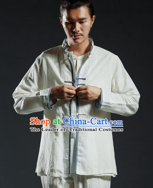 Chinese Kung Fu Costume Plated Buttons White Linen Shirts Martial Arts Gongfu Wushu Tang SuitsTai Chi Clothing for Men