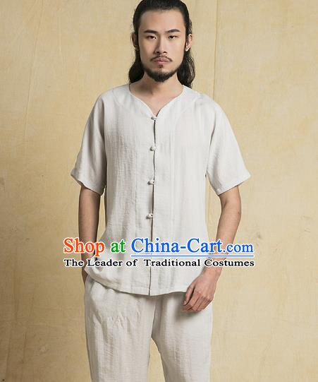 Chinese Kung Fu Costume Martial Arts Gongfu Grey Linen Suits Wushu Tang Suits Tai Chi Clothing for Men